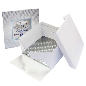 8in White Square Cake Card & Cake Box
