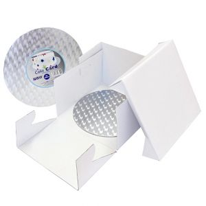 12in White Round Cake Card & Cake Box